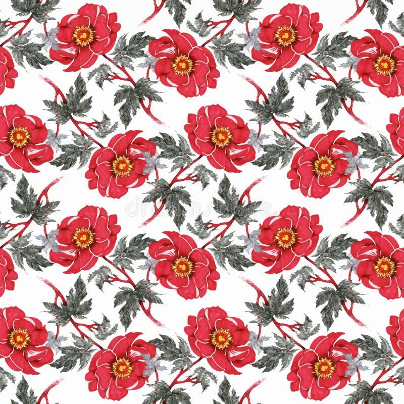 与五颜六色的花和叶子的水彩无缝的样式在白色背景,水彩花卉样式,花 库存照片