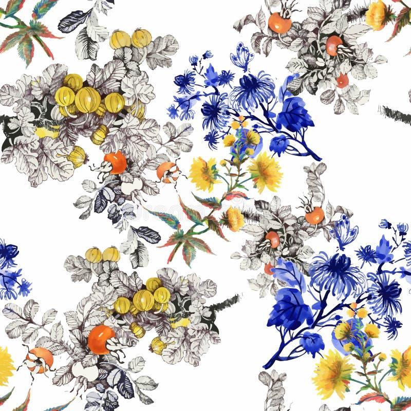 与五颜六色的花和叶子的水彩无缝的样式在白色背景,水彩花卉样式,花 免版税库存照片