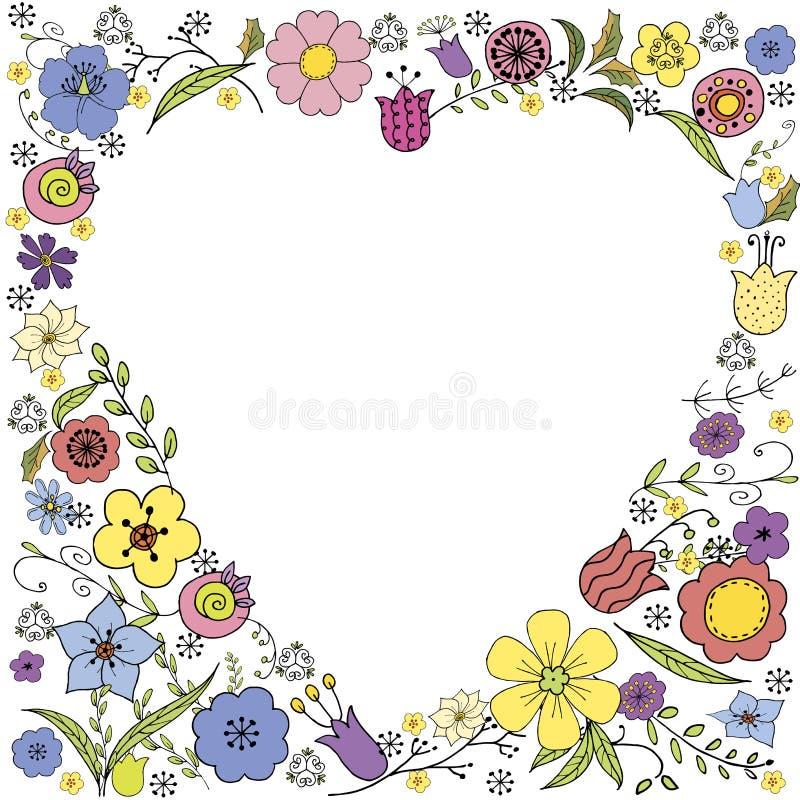 与五颜六色的花和题字的相反心脏乱画在白色背景的传染媒介 皇族释放例证