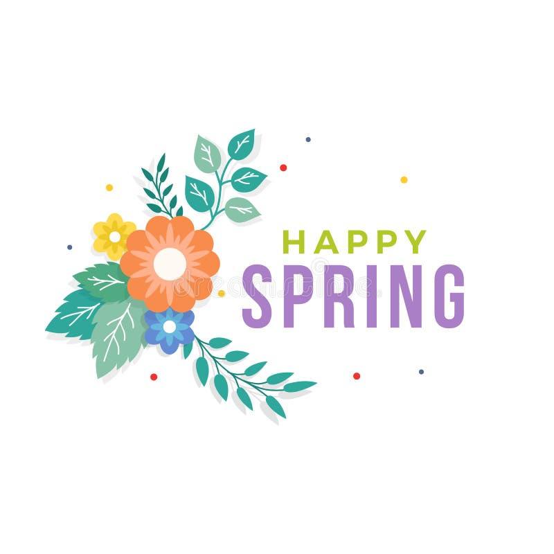 与五颜六色的花束插花和叶子装饰品的愉快的春天文本 贺卡,背景,海报,横幅模板 皇族释放例证