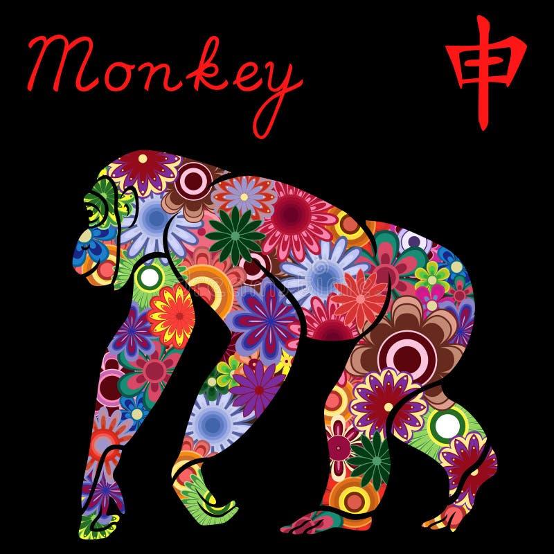 与五颜六色的花的中国黄道带标志猴子 皇族释放例证