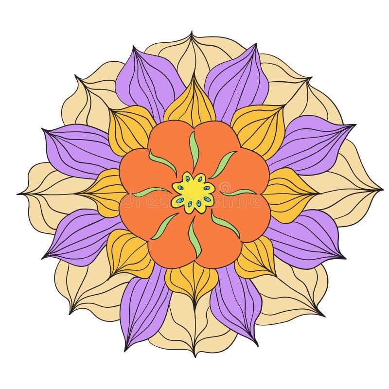 与五颜六色的花的无缝的样式 向量 库存例证