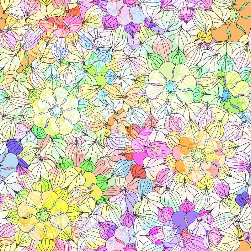与五颜六色的花的无缝的样式 向量 向量例证
