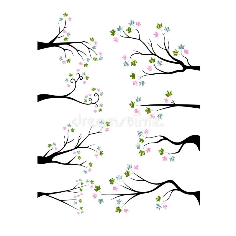 与五颜六色的花的装饰分支树剪影 库存例证