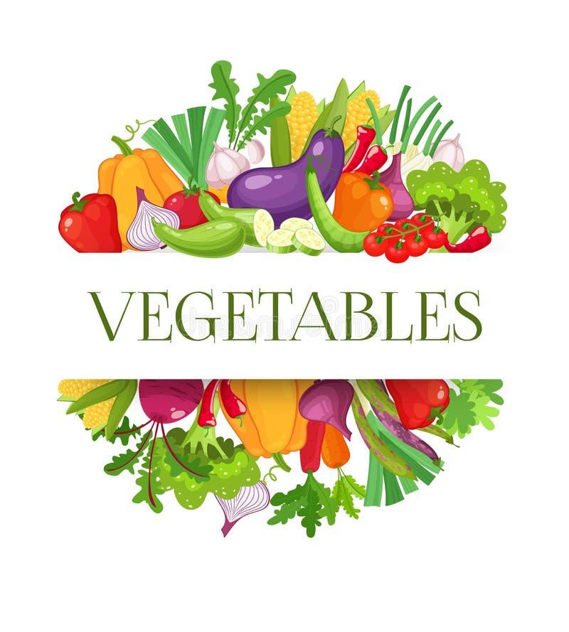与五颜六色的菜的横幅圆的构成农夫市场菜单设计的 健康概念的食物 向量 皇族释放例证