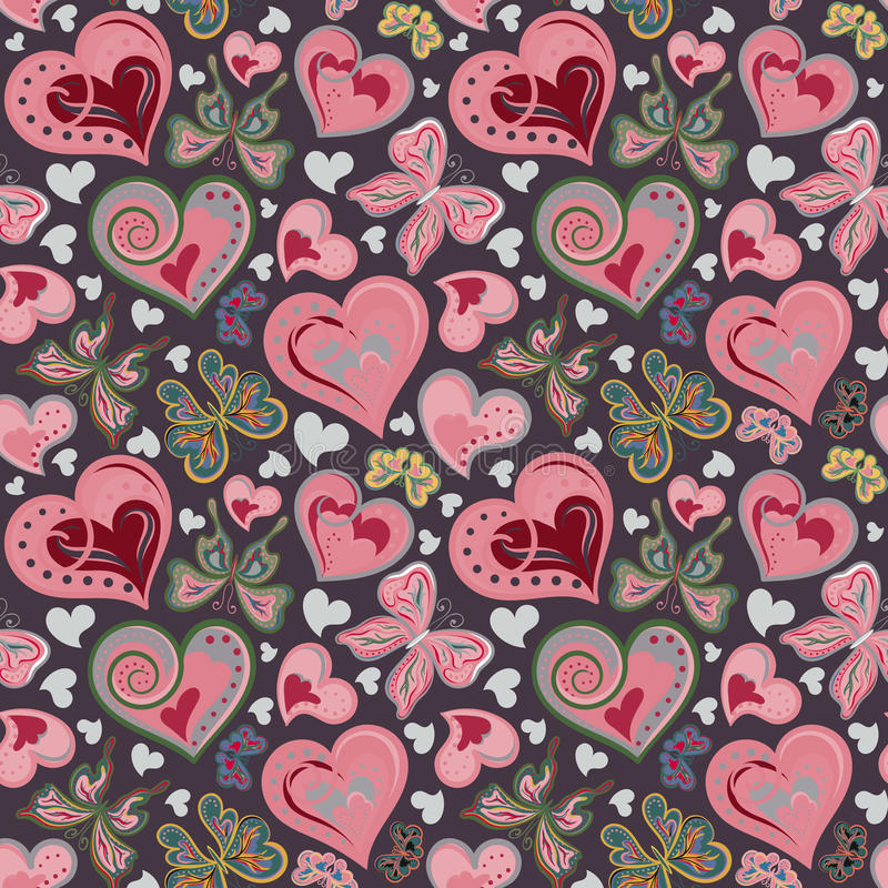 与五颜六色的葡萄酒桃红色和棕色蝴蝶,花,在黑背景的心脏的无缝的华伦泰样式 向量 库存例证