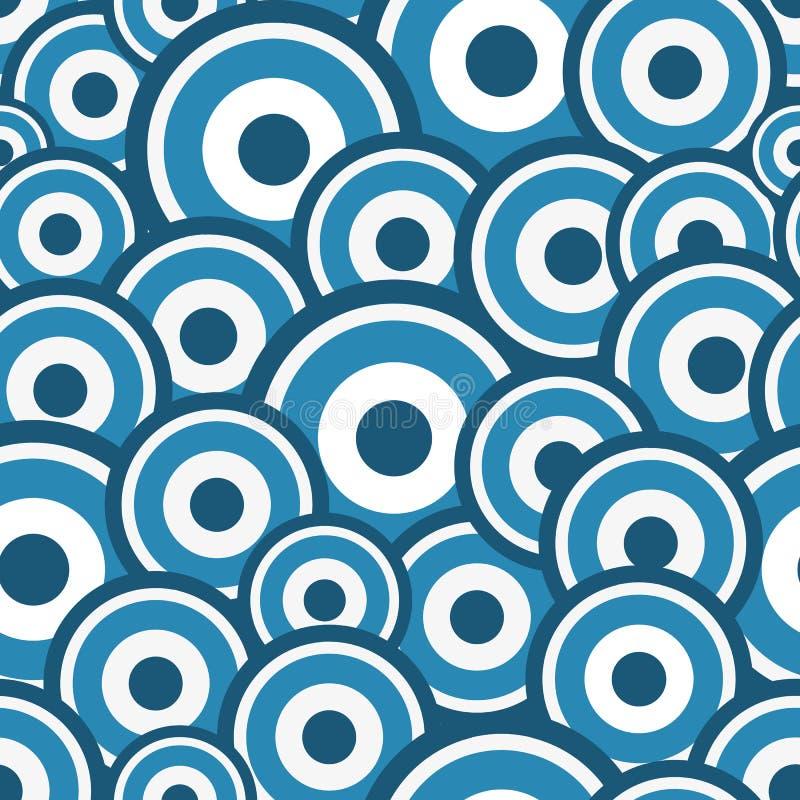 与五颜六色的蓝色圈子的无缝的样式 皇族释放例证