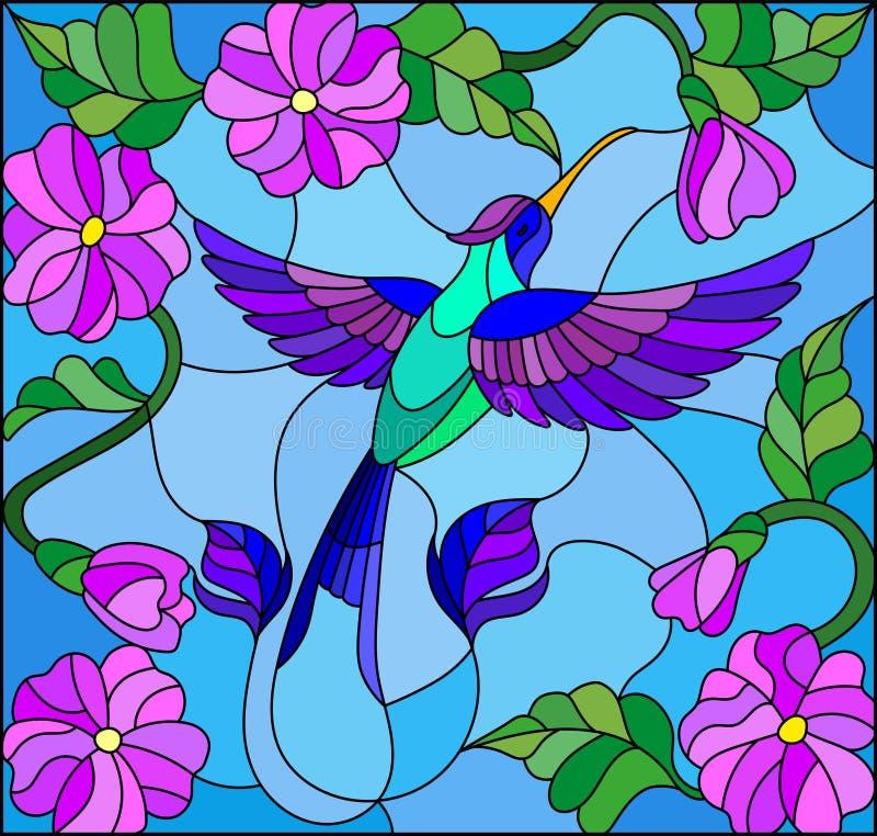 与五颜六色的蜂鸟的彩色玻璃例证在天空、绿叶和花的背景 库存例证