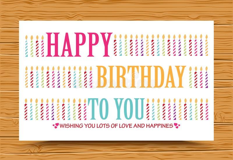 与五颜六色的蜡烛的生日快乐背景 库存例证