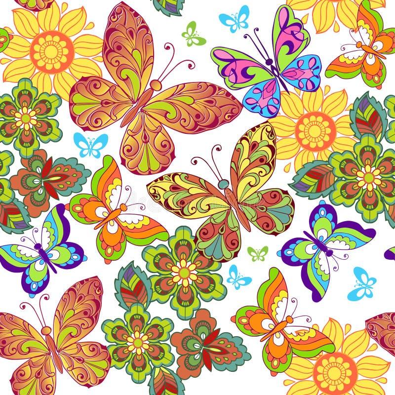 与五颜六色的蝴蝶的夏天无缝的样式 织品的,纺织品,包装纸装饰装饰品背景 皇族释放例证