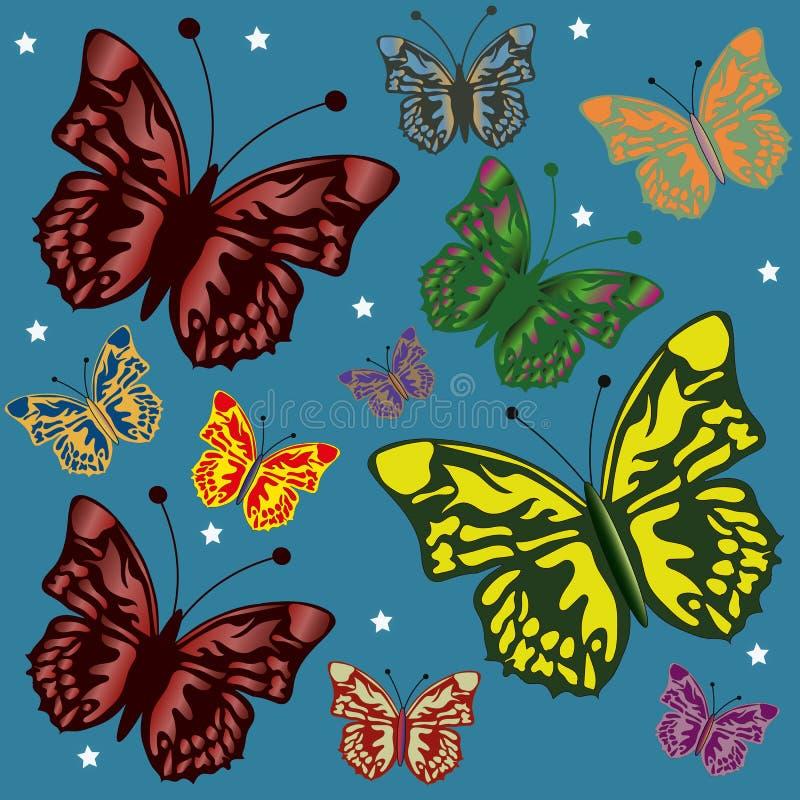 与五颜六色的蝴蝶的背景 库存例证