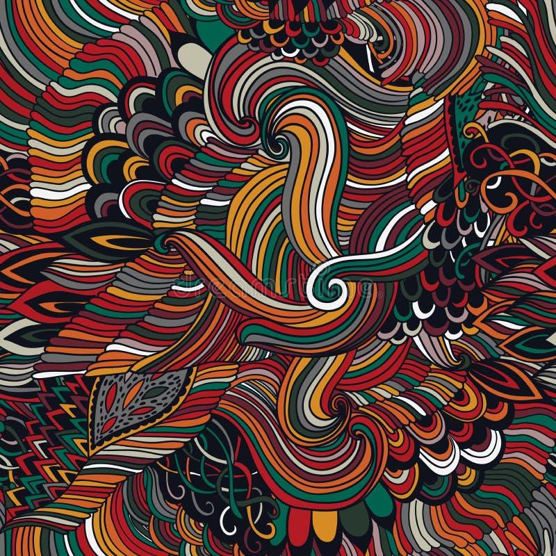 与五颜六色的装饰品的无缝的样式摘要背景 手凹道例证,彩图zentangle 海藻海 库存例证