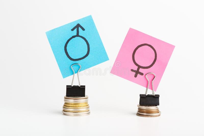与五颜六色的贴纸的性别薪水差距的例证 免版税图库摄影