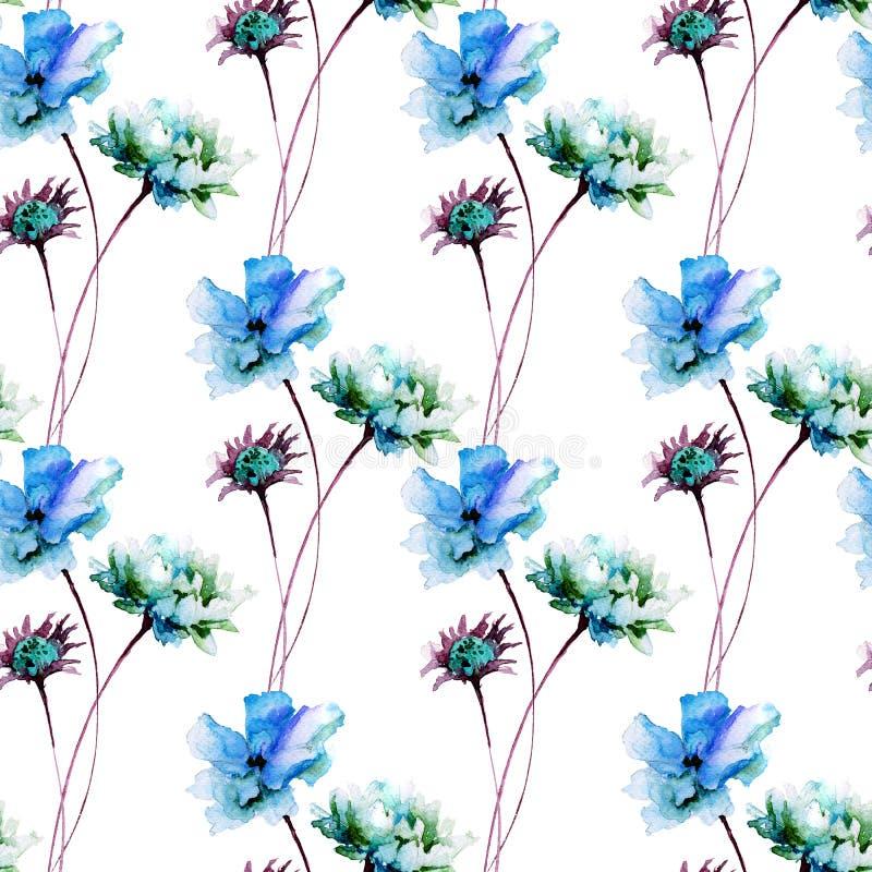 与五颜六色的野花的夏天无缝的样式 库存例证