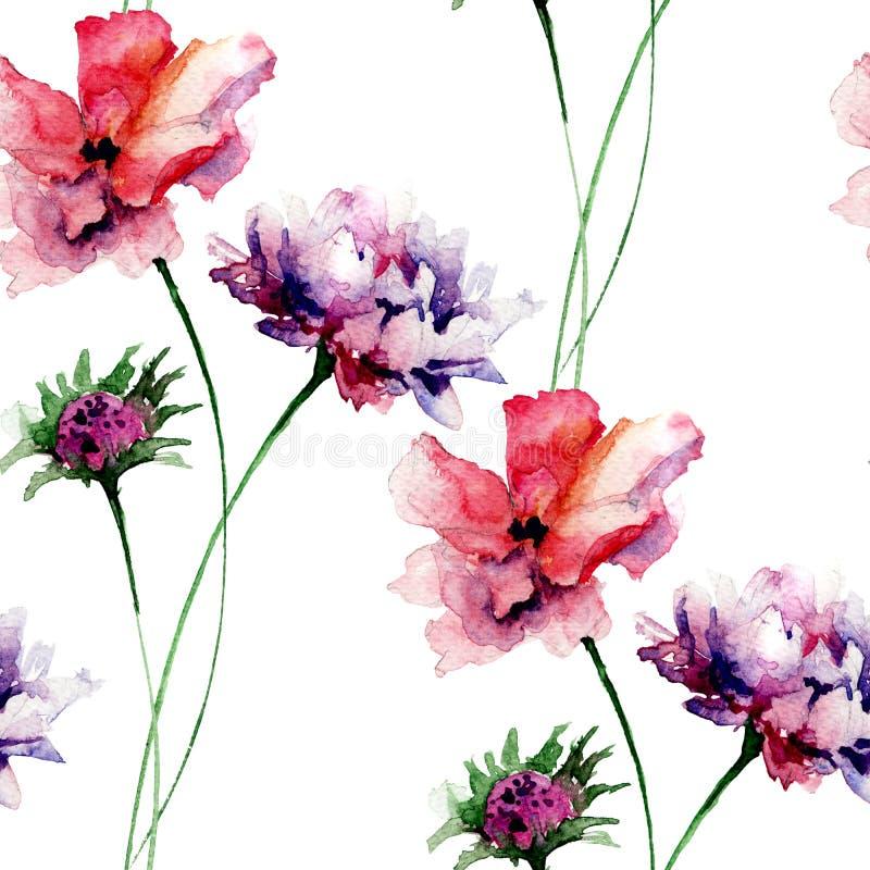 与五颜六色的野花的夏天无缝的样式 向量例证