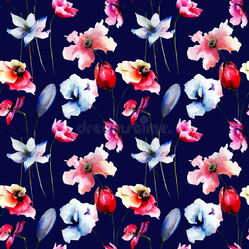 与五颜六色的野花的无缝的样式 库存例证