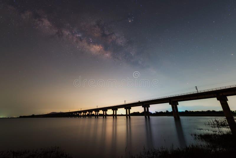 与五颜六色的银河的夜风景 免版税库存照片