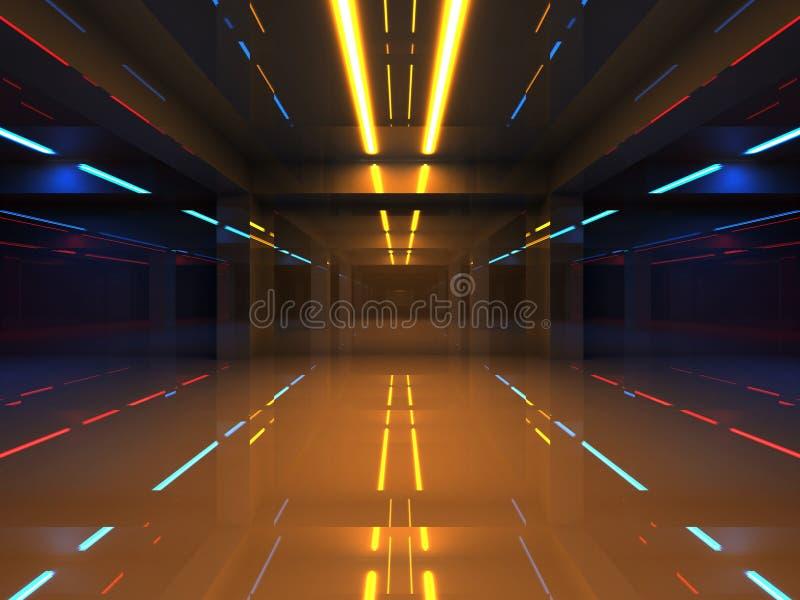与五颜六色的霓虹灯的抽象3d内部 库存例证