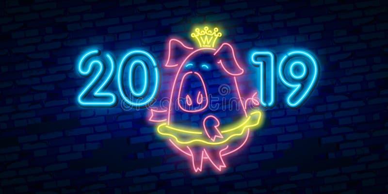 2019与五颜六色的霓虹灯的新年概念 介绍、飞行物、传单、海报或者明信片的减速火箭的设计元素 向量例证