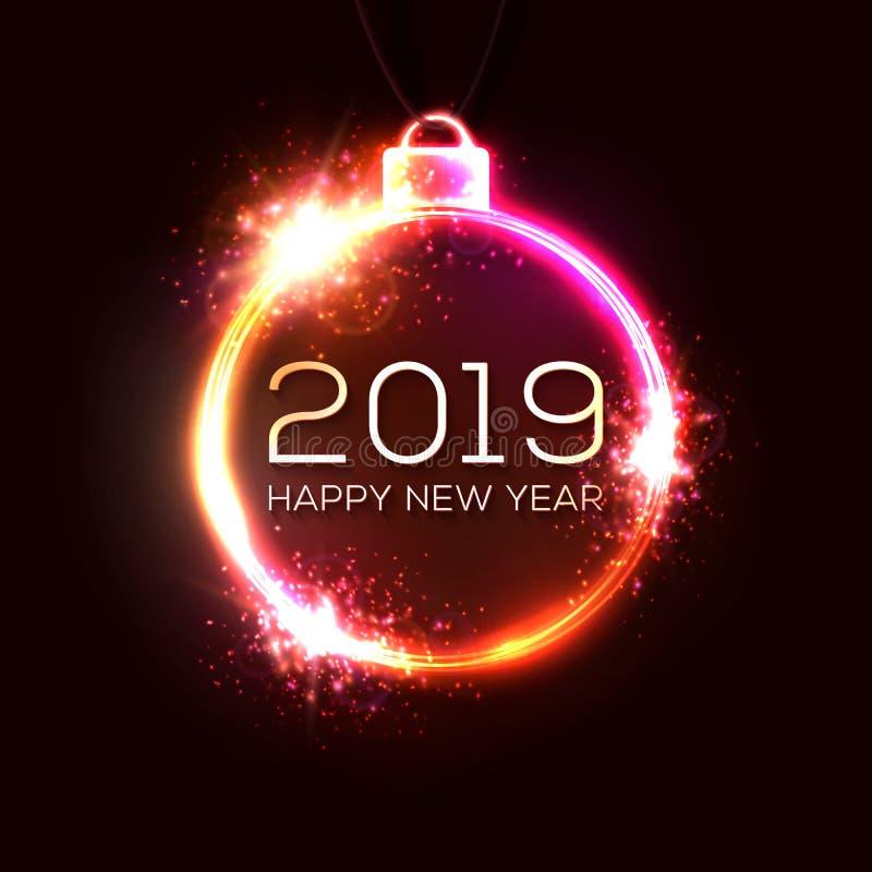 2019与五颜六色的霓虹灯的新年概念 库存例证