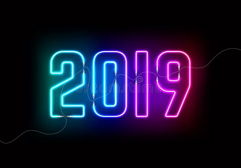 2019与五颜六色的霓虹灯的新年概念 向量例证
