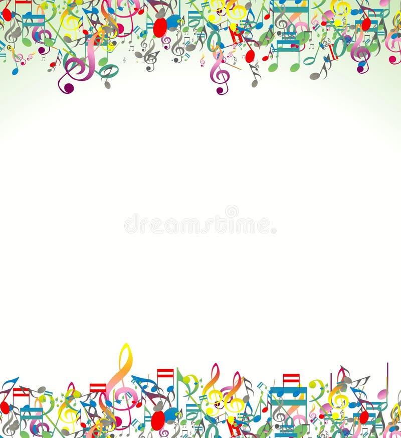 与五颜六色的音乐笔记的抽象背景 库存例证