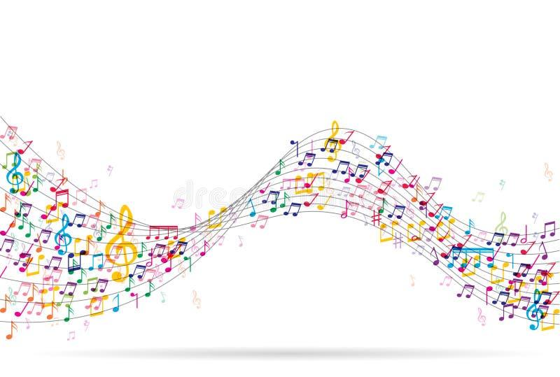 与五颜六色的音乐笔记的抽象背景 向量例证