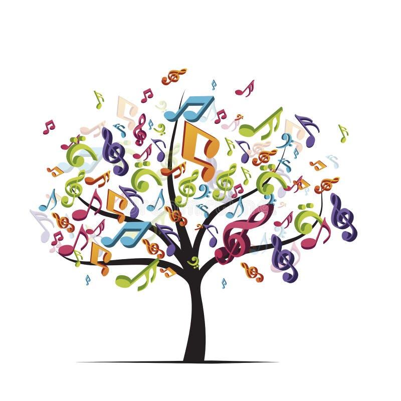 与五颜六色的音乐笔记的树 库存例证