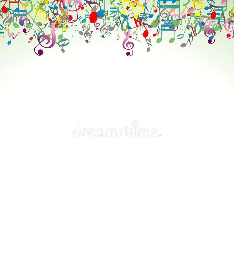 与五颜六色的音乐笔记的秀丽抽象背景 库存例证