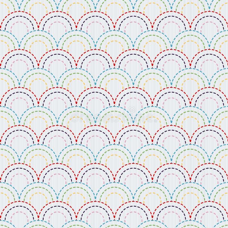 与五颜六色的鱼鳞的传统日本刺绣装饰品 模式无缝的向量 向量例证