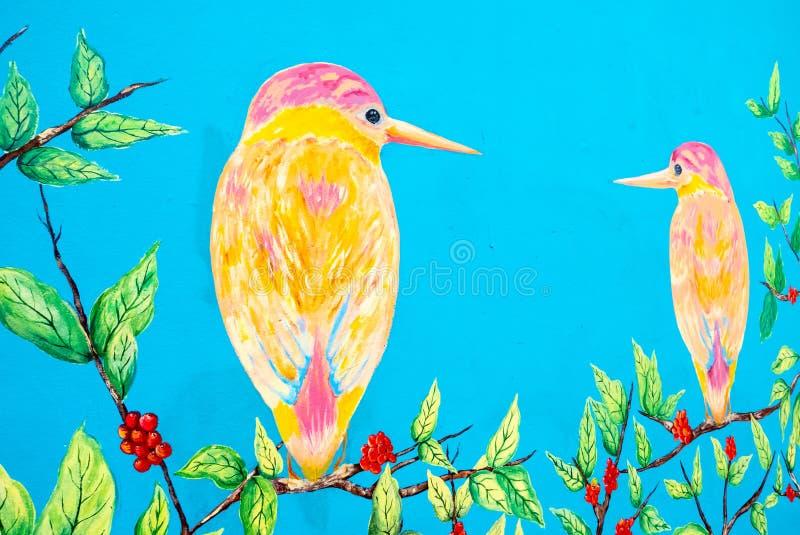与五颜六色的鸟的哥伦比亚Chia壁画 库存照片