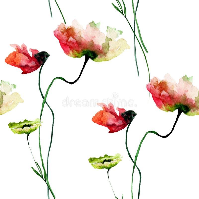 与五颜六色的鸦片和野花的无缝的样式 库存例证