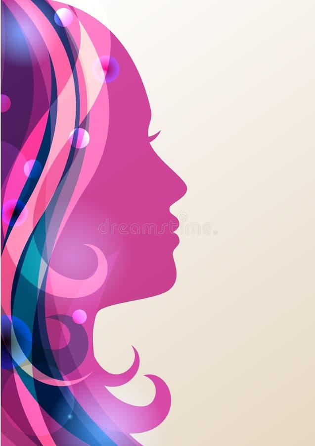 与五颜六色的头发,传染媒介背景的美丽的女孩剪影 库存例证