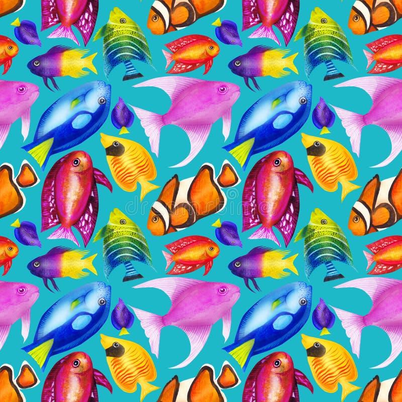 与五颜六色的水彩鱼的无缝的样式 手拉的wat 向量例证