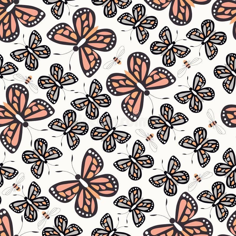与五颜六色的蝴蝶和蜂,自然生活的无缝的样式 库存例证