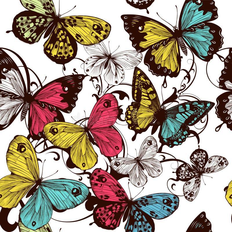 与五颜六色的蝴蝶的传染媒介无缝的墙纸 向量例证