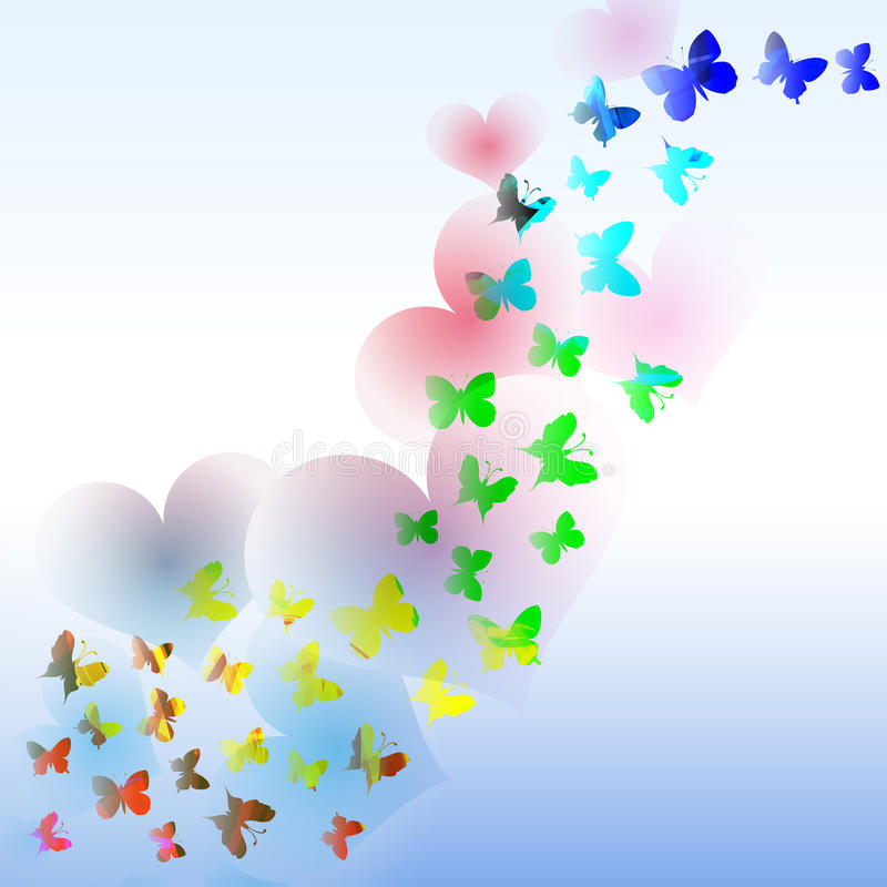与五颜六色的蝴蝶的抽象在wa的背景和心脏 向量例证