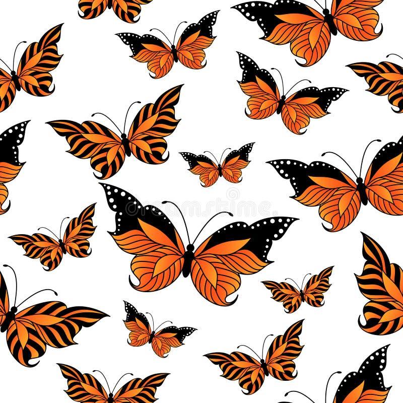 与五颜六色的蝴蝶的无缝的样式 向量例证