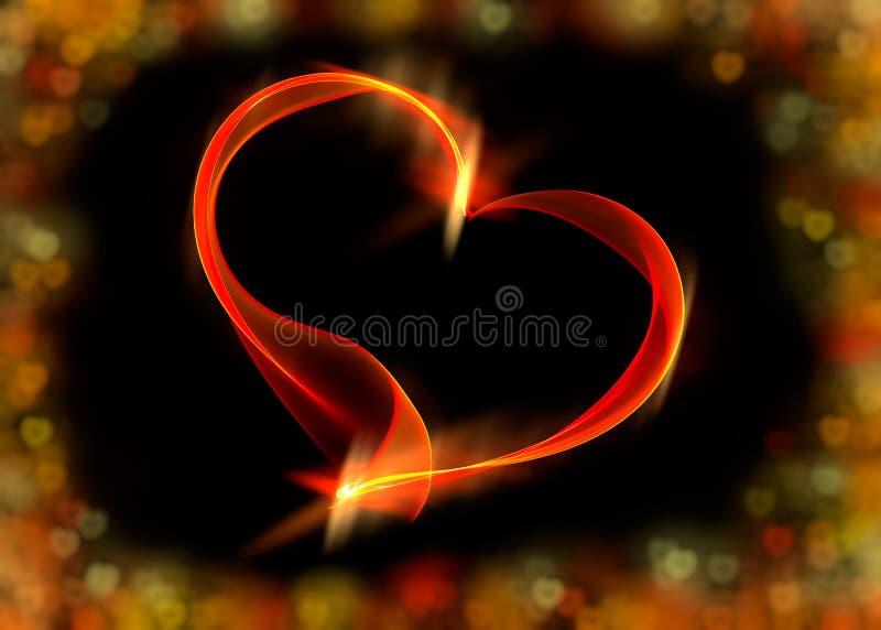 与五颜六色的bokeh的红色丝带心脏点燃,例证 向量例证