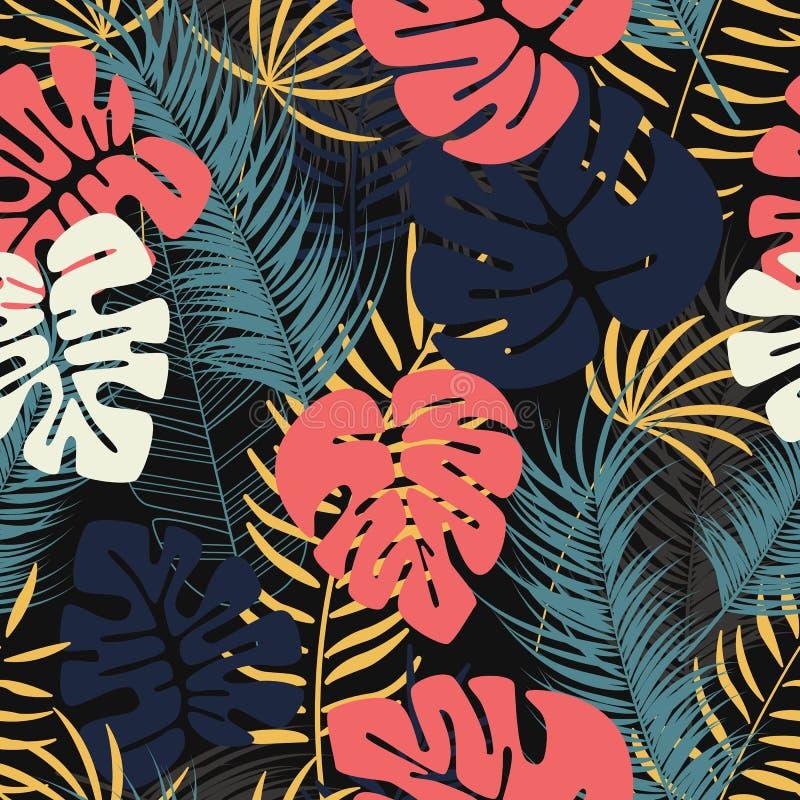 与五颜六色的monstera棕榈叶的夏天无缝的热带样式 皇族释放例证