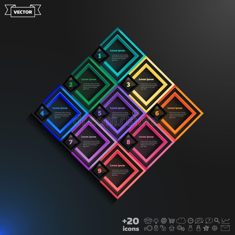与五颜六色的rhombs的传染媒介infographic设计名单 免版税库存照片