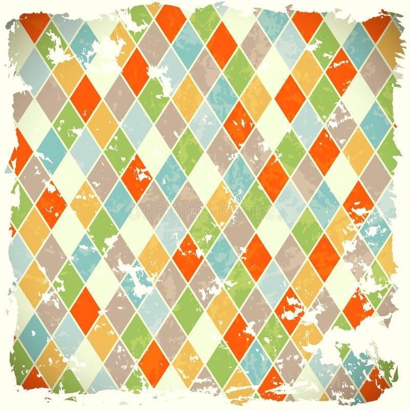 与五颜六色的rhombs的减速火箭的背景 皇族释放例证