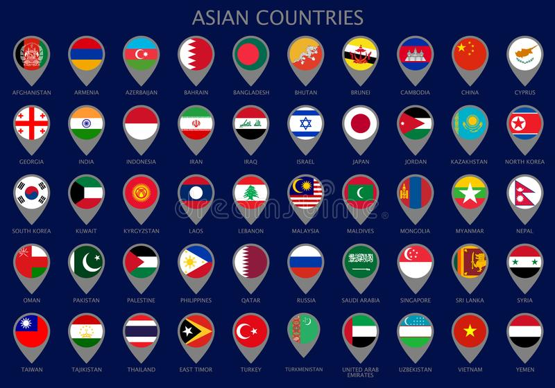 与亚洲国家的所有旗子的地图尖 皇族释放例证