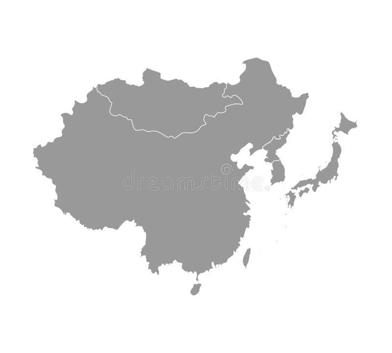 与亚洲国家被简化的地图的传染媒介例证  东部地区 中国,日本的国家边界 向量例证