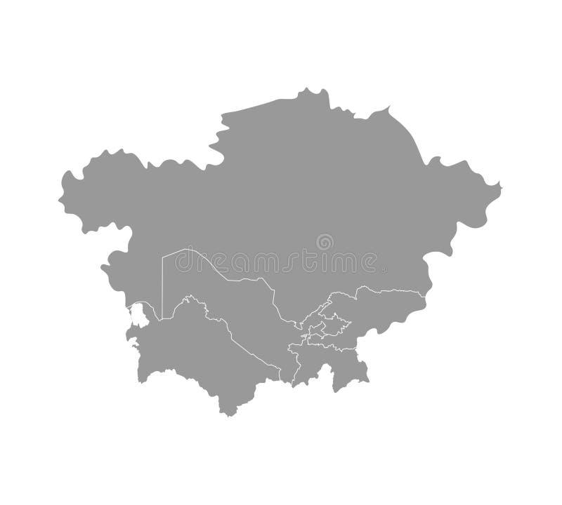 与亚洲国家被简化的地图的传染媒介例证  国家边界 中部哈萨克斯坦,塔吉克斯坦 库存例证