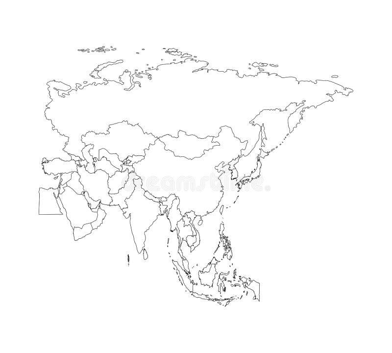 与亚洲国家被简化的地图的传染媒介例证  国家边界 向量例证
