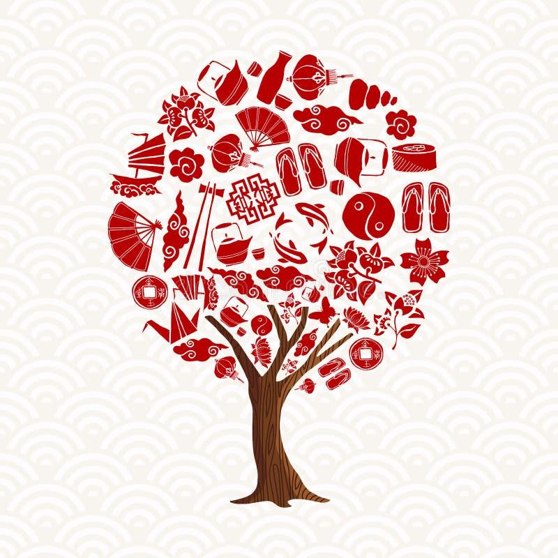 与亚洲文化象集合的中国树概念 库存例证