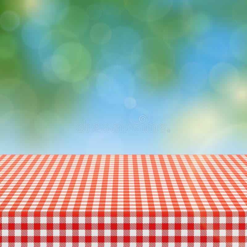 与亚麻制桌布和被弄脏的自然背景传染媒介例证的红色方格的样式的野餐桌 皇族释放例证