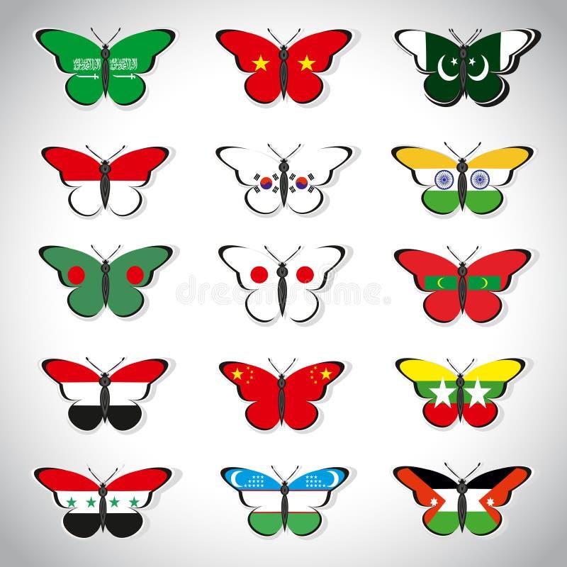 与亚洲国家旗子的十五只蝴蝶  皇族释放例证
