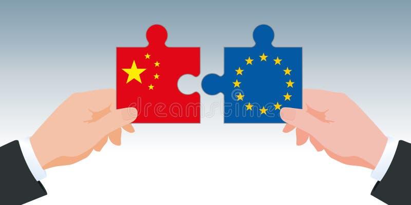 与交换的国际贸易标志在显示两只手的中国和欧洲之间拿着难题片断在颜色的他们 库存例证
